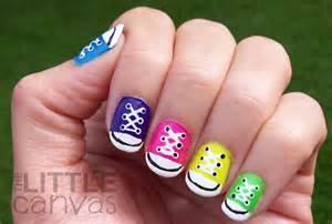 Canvas 31 day challenge day 7 rainbow nails converse nail art