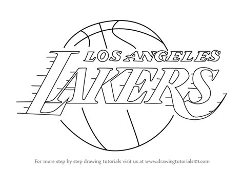 step by step how to draw los angeles lakers logo