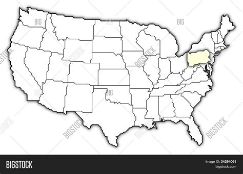map usa pennsylvania highlighted map of the united states pennsylvania highlighted stock