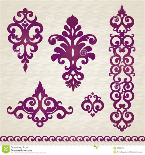 Vector set with classical ornament in victorian style stock vector image 41541059