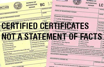 brake and light adjustment certificates san francisco brake and light inspections dmv certified