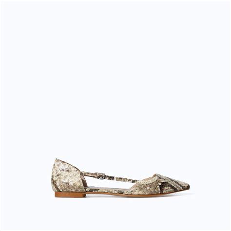 zara shoes flats zara pointed snakeskin flat shoes in lyst