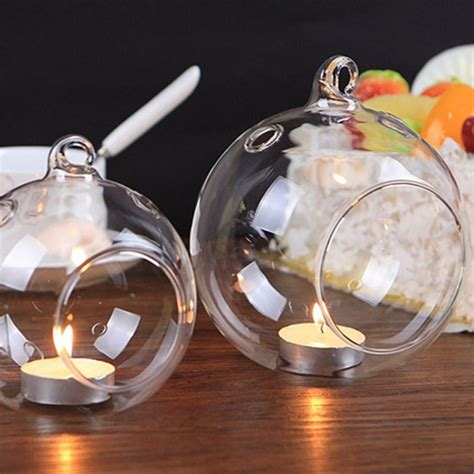 Hanging Candle Holder Glass Ball Candlestick Handcraft