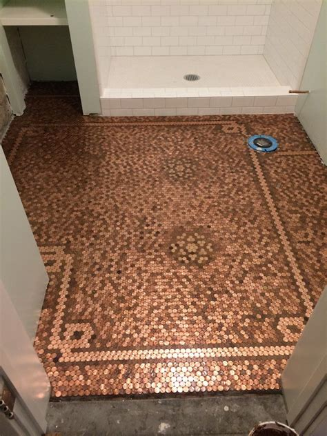bathroom floor pennies 1000 ideas about penny flooring on pinterest penny wall