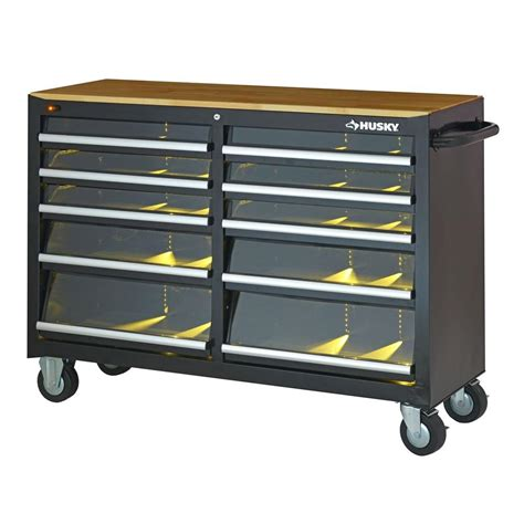 Husky 52 In 10 Drawer Clear View Mobile Workbench With husky 52 in 10 drawer clear view mobile workbench with