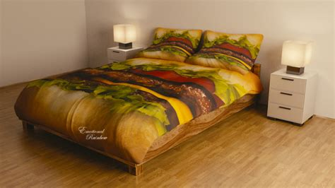 pizza bed sheets photorealistic pizza and hamburger bedding
