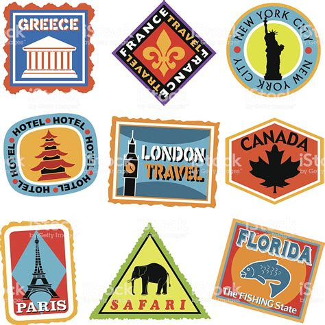 Koffer Mit Sticker by Luggage Labels Or Travel Stickers Stock Vector Art More