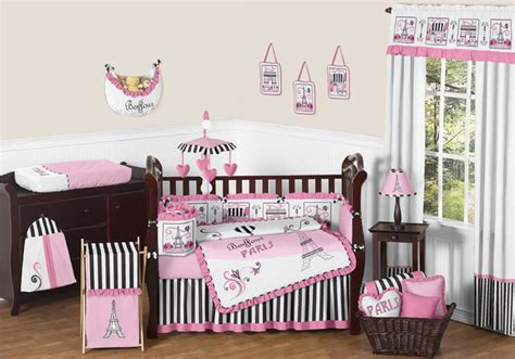 High End Crib Bedding by Sweet Jojo Designs Pink Black High End