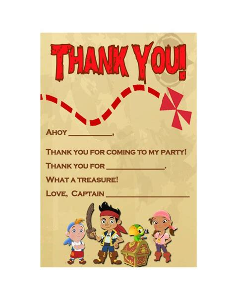 jake and the neverland thank you card template 28 best images about tarjetas de cumplea 241 o on