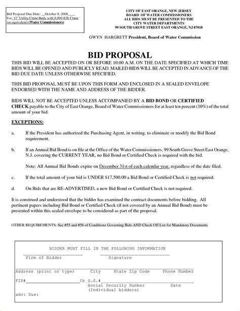 Government Contract Bid Template Government Bid Proposal Template One Piece