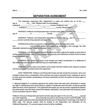 Separation Agreement Form Create A Free Separation Agreement Separation Agreement Template Nc