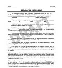 Marriage Separation Agreement Template by Separation Agreement Print For Free