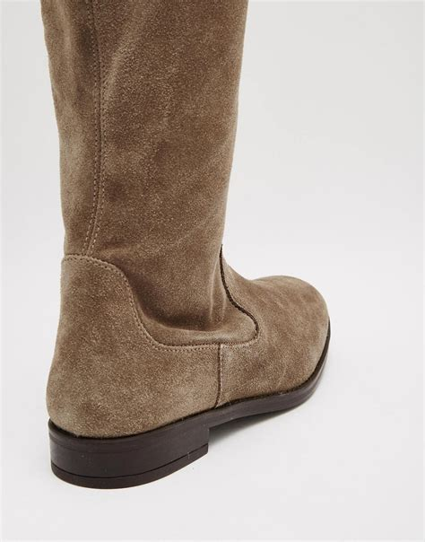 taupe the knee suede boots aldo aldo barra taupe suede flat the knee boots at asos
