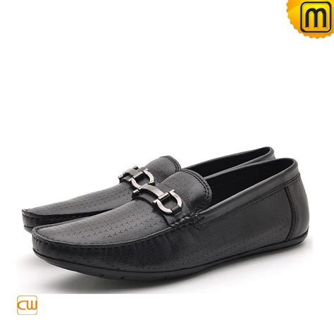 means loafers mens black leather driving loafers cw712395