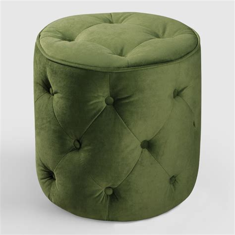 Green Tufted Velvet Round Ottoman World Market