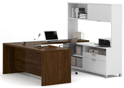 U Desk With Hutch Pro Linea White Oak Barrel U Desk With Hutch From Bestar 120880 30 Coleman Furniture