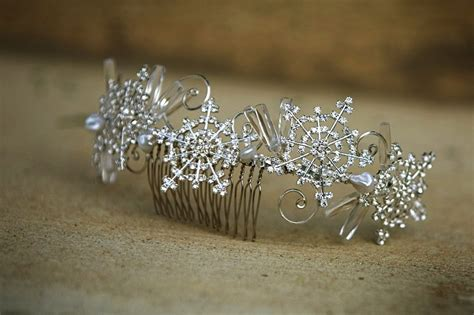 Wedding Hair Accessories Snowflake by Winter Wedding Hair Accessories Rhinestone Snowflake Comb