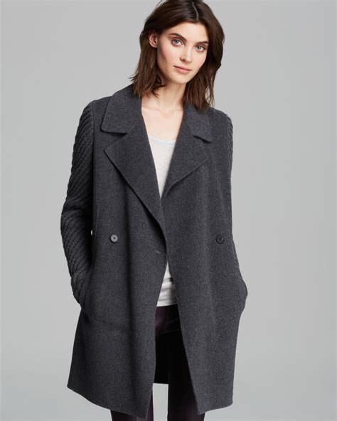 sleeve breasted coat vince coat breasted knit sleeve in gray med h