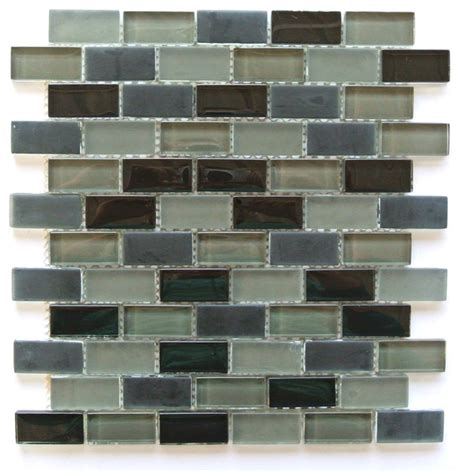 gray glass mosaic tiled backsplash transitional bathroom grey rectangular glass mosaic tile 1 quot x2 quot kitchen bathroom