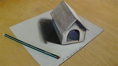 how to make a paper dog house 3d art for kids trick art drawing 3d tiny dog house on paper youtube