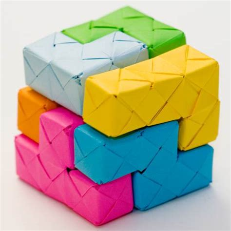 Cool Paper Folding Projects - tetris origami blocks crafty decorative colorful gimme