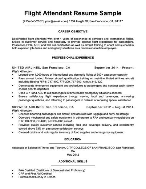 flight attendant description resume sle flight attendant resume sle writing tips resume companion