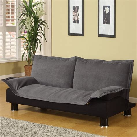 futon chair shop coaster furniture grey black microfiber futon at