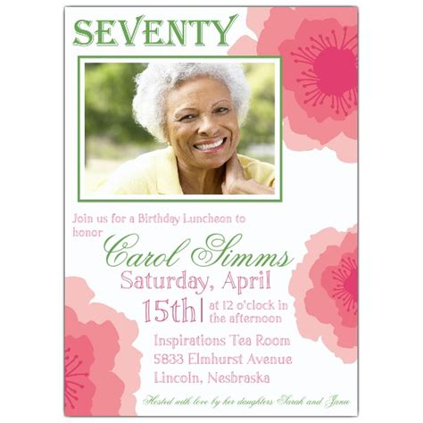 Peony Pink Seventieth  Ee  Birthday Ee   Invitations Paperstyle