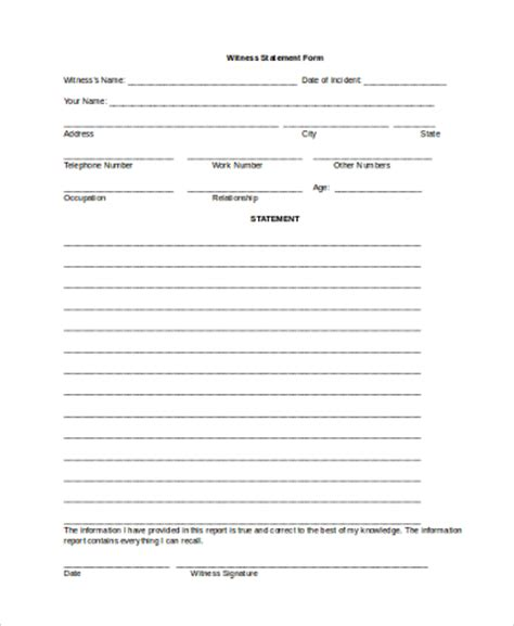 witness form template witness statement form sles 9 free documents in word
