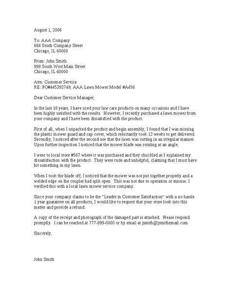 Complaint Letter To A Company About A Product Customer Complaint Letter Template Hashdoc
