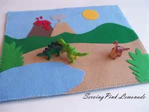 serving pink lemonade dinosaur play mat