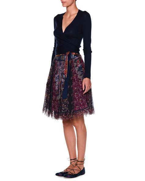 Tie Waist A Line Skirt etro tie waist a line skirt in blue lyst
