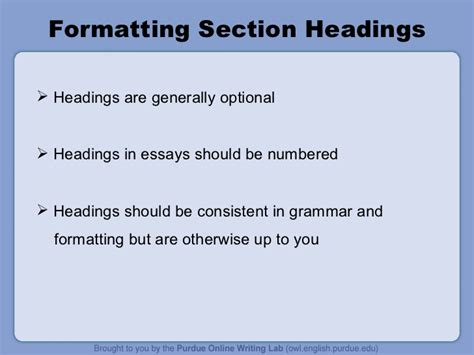 mla format section headings mla format ppt