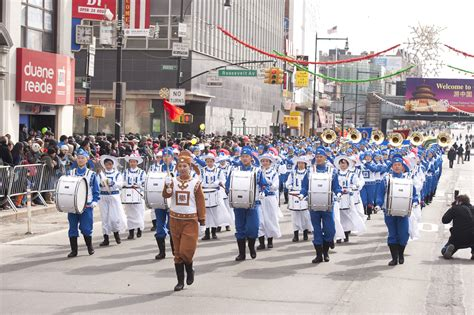 new year parade in flushing new york city falun gong practitioners participate in