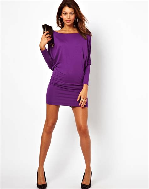 Batwing Purple Dress lyst asos mini dress with batwing sleeves in purple