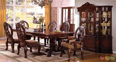 elegant dining room set tuscany antique cherry formal dining set double pedestals