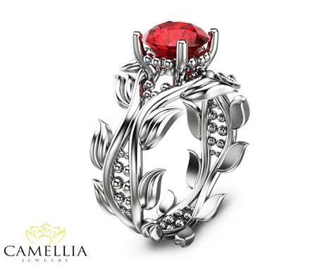 Wedding Ring Ruby by Leaf Ring 14k White Gold Ruby Ring Ruby Engagement Ring