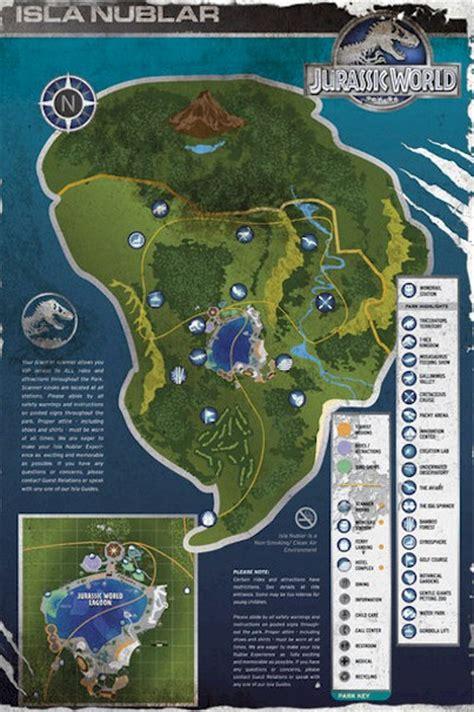 jurassic park map jurassic world isla nublar map 24x36 poster dinosaur island new rolled ebay
