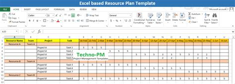 team resource planning template excel