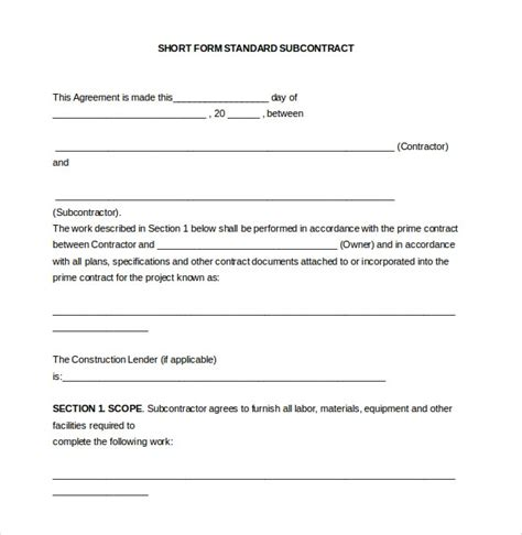 subcontractors agreement template subcontractor contract template invitation template