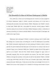 Othello Essays On Othellos Character by Othello To What Extent Is Othello Responsible For His