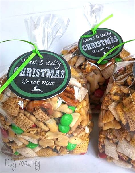 christmas snack mix   printable labels diy beautify