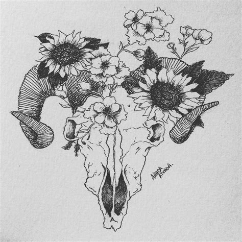 flower and skull tattoo design ink skull animal flowers idea sun flowers