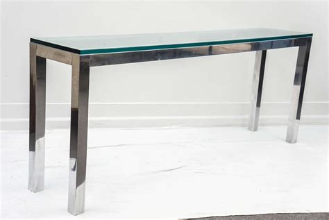 long sofa tables 1970s polished aluminum long console table at 1stdibs
