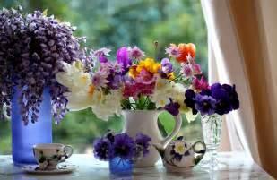 beautiful flowers in a vase viola violet pansy