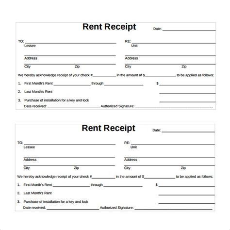 rent receipt template 13 download free documents in pdf