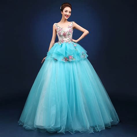 43751 Lightblue Flower Embriodery S M L light sky blue flower embroidery gown dress stage performance