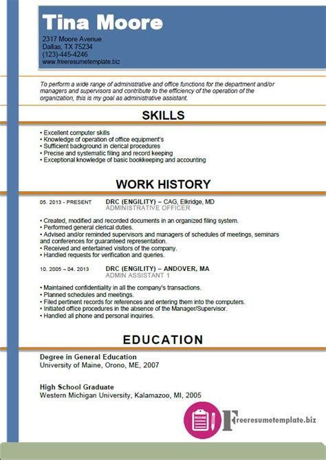 executive assistant resume sles free free administrative assistant resume templates 50 images