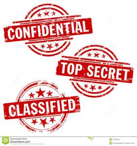 Set of three stamps for marking top secret confidential and