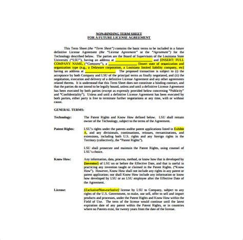 non binding term sheet template 14 term sheet template free word pdf documents